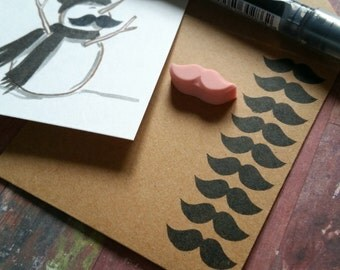 Itty-Bitty Mustache - Hand Carved Rubber Stamp