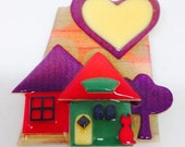 Vintage House Pins by Lucinda, Layered Plastic Brooch with Houses, Trees, Kitty Cat, and a Big Heart Sun or Moon, Red Purple Green Yellow
