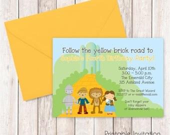 Wizard of Oz Invitation, Printable Invitation, Custom Wording, JPEG File