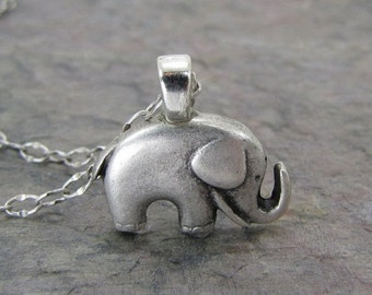 SALE Elephant Necklace Antiqued Silver Jewelry Good luck Charm