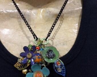 Torch fired enamel flowers necklace