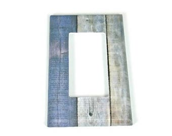 Switchplate  Rocker Light Switch Cover  Switch Plate in Blue Barnwood  (282R)