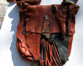 Prairie fire  - elkhide and deerskin purse