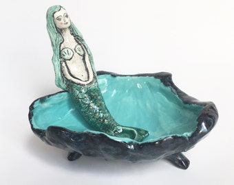 Mermaid In Seashell salt well ceramic kitchen accessory