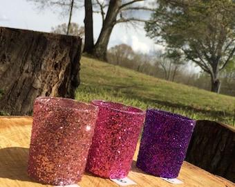 12 Glitter Votive Candle Holders Wedding Party Favors Soft Pink Hot Pink Purple Lavender Violet Decoration Centerpiece Reception Tealight