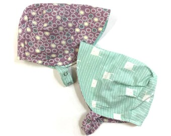 UB2 COTTON TAIL a hippity hoppity bunny rabbit lavender purple and blue aqua hued baby summer sun hat, by Urban Baby Bonnets (all sizes)