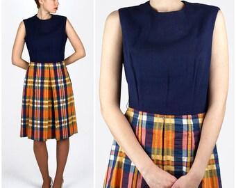 Vintage 1960s Navy Blue and Orange Plaid Sleeveless Dress   Medium/Large