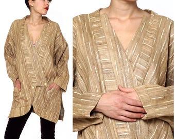 Vintage 1970s Oversized Natural Nubby Beige Blazer Jacket   Medium Large