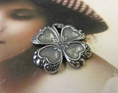 Sterling Silver Ox Plated Brass Four Leaf Clover Shamrock Charms 388SOX x2