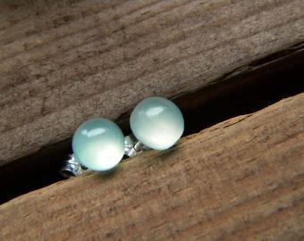 Tiny Aqua chalcedony - 6mm stone, stud earrings, sterling silver earrings, post earrings