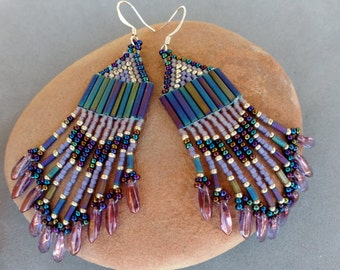 Native American Beaded Earrings, Beadwork Earrings, Long Fringe Seed Bead Earrings, Long Beaded Earrings, Purple Beaded Earrings Boho MANTRA