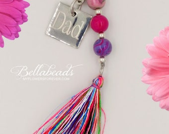 Memorial Beads, Made with Your Flower Petals, Memorial Jewelry, Personalized Jewelry, Key Chain with Monogram