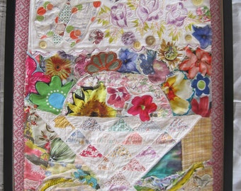 COTTAGE FLOWERS --  Textile Assemblage Fabric Collage Wall Hanging Quilt --Folk Art Mixed Media myBonny random scraps