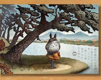 "Wood Spirit Spring Ride Greeting Card- 5"" x 7"" greeting card with envelope-blank inside"