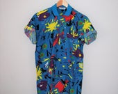 80s abstract print polo shirt 1980s mens colorful button up t shirt medium