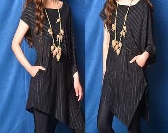 Nile Garden - asymmetrical zen cotton tunic / deconstructed boho summer tunic dress / striped extravagant dress / grey t shirt  (Y19b6)