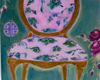 Pink, purple, jade chair (print)