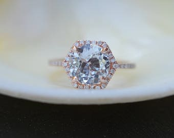 Hexagon Engagement Ring. White Sapphire Ring. 14k Rose Gold 3ct Round sapphire engagement ring by Eidelpresious