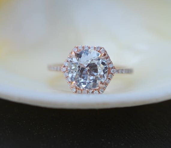 Hexagon Engagement Ring. White Sapphire Ring. 14k Rose Gold 1.7ct Round sapphire engagement ring by Eidelpresious