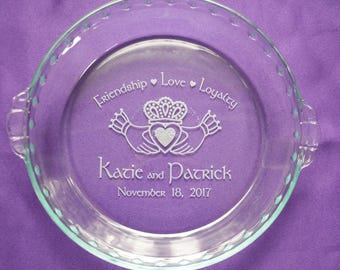 Personalized Engraved Claddagh Pie Plate, Custom Irish Dessert Dish, Celtic Wedding Gift , Anniversary Casserole Baking Dish #10