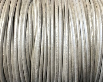 1mm Metallic Silver Round Leather Cord 2 yards for Wrap Bracelets Macrame Knotting Jewelry