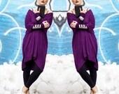 BABOOSHKA Holiday Oversized Asymmetrical T-Shirt Mini Dress Long Sleeve Premium Knit Jersey Minimalist  Tunic Jewel Tone Pinot Noir