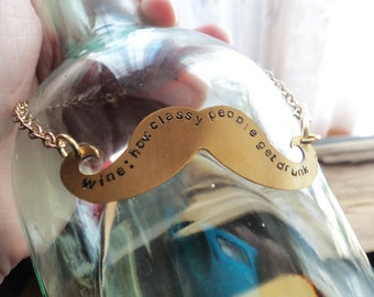 Glass Bottle Tag, Brass Metal Bottle Decanter Tag, How Classy People Get Drunk, Stamped Mustache Wedding Collector Bottle Gift