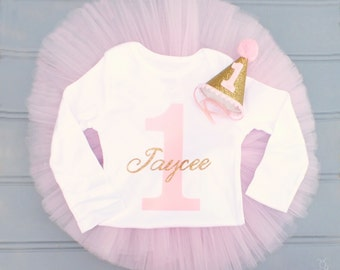 Personalized First Birthday Outfit Girl, Cake Smash Outfit Girl, 1st Birthday Outfit Girl, Pink and Gold First Birthday, SEWN Tutu Set