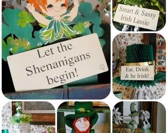 9 large St. Patrick's Day Flash Cards PDF - fun phrases party blarney  shamrock saint green Irish home decor