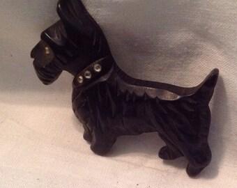 Vintage  Scottie Terrier Dog Wood  Carved Brooch Pin Rhinestones