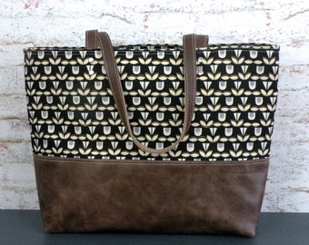 Black and Gold Tote, Canvas carryall Tote, Leather Bottom Bag, beach Bag, Large over the shoulder purse, Large Commuter Bag, Knitting Bag