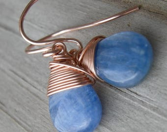 Blue Kyanite Rose Gold Fill Wire Wrapped Earrings
