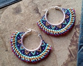 Tribal Hoop Earrings, Beaded Boho Hoops, Purple and Gold, southwest style, Christmas Colors