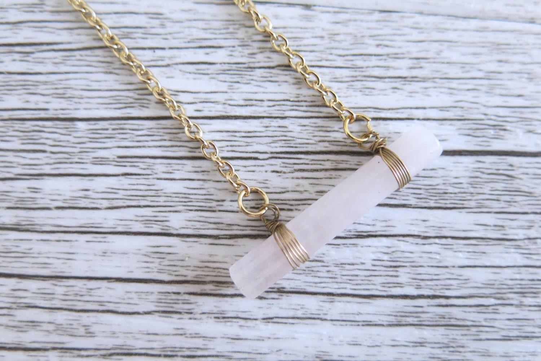 Rose Quartz Gold Wire Wrapped Crystal Necklace Rose Quartz Cylinder ...