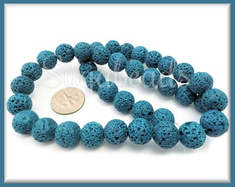 1 Strand of Teal Blue Lava Rock Beads - Teal Lava Beads 10mm