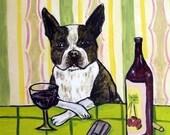 30% off Boston Terrier, , wine art. wine tile, dog tile, dog, boston terrier tile, coaster,modern folk art,