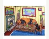 30% off Shar Pei Tea Party Dog Art Print JSCHMETZ modern abstract folk pop art american ART gift 11x14