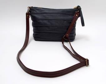 Navy Blue Cross Body Leather Purse Handbag