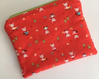 Little Red Riding Hood Zipper Pouch, Little Red Riding Hood Coin Purse, Little Red Riding Hood Zipper Bag, Little Red Riding Hood Wallet,