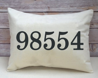Personalized pillow, housewarming, area code, zip code, Moving gift, cotton anniversary, 2nd, wedding gift, borderless numbers