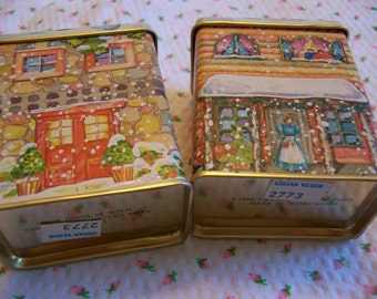 two tiny lillian vernon tin boxes