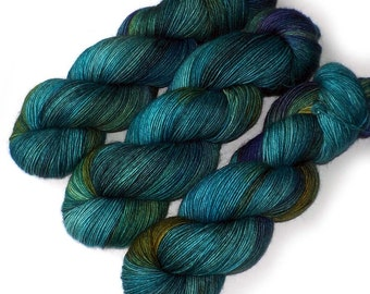 Kid Mohair Merino Nylon Handdyed Sock Yarn, Blue Eden