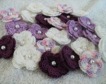 Crochet Flowers set of 25 double layered in a Fairy Princess Theme