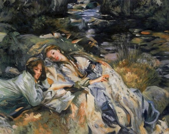 The Brook - John Singer Sargent hand-painted oil painting reproduction,two beauties resting on rocky mountain stream,bedroom wall art decor