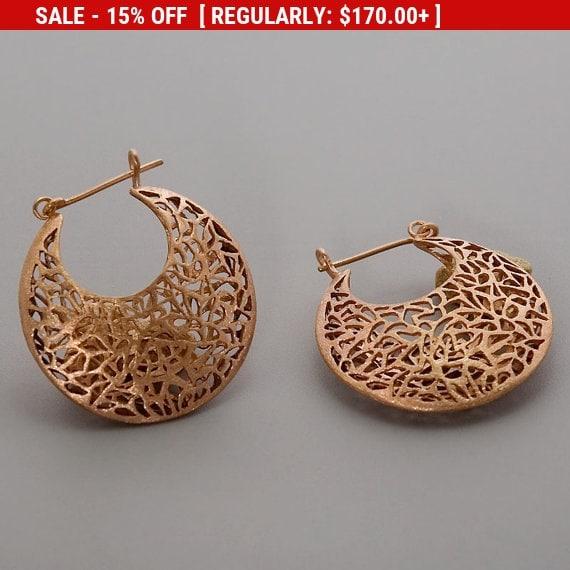 Christmas SALE Rose Gold Earrings, Moroccan Earrings, Filigree Earrings, Large Boho Earrings, Statement Hoop Earrings, Gift For Mom, Bohe...