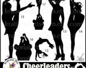 Cheerleader Silhouettes Set 3 - with 8 digital graphics PNG - cheerleaders clipart graphics stunt cheer spirit [Instant Download]