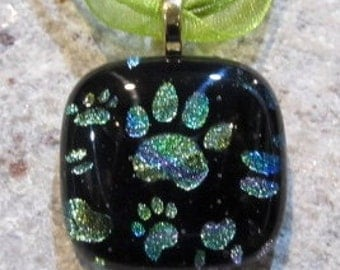 Fused Glass Pendant with ribbon necklace: Rainbow Paws