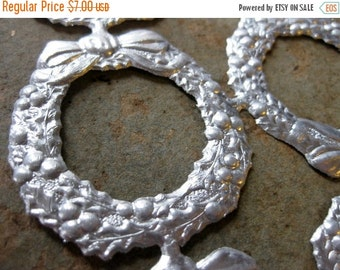 HOLIDAY SALE - Silver German Embossed Wreaths, Set of 12, Gorgeous Holiday Embellishment
