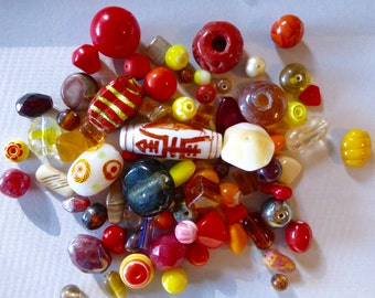 Mix of Assorted Vintage and New Beads to Play With - Red, Yellow, Orange Tones (100g) OOAK  (RY)
