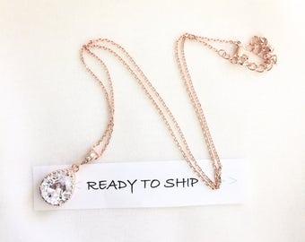 RTS Rose Gold Bridal Necklace Rhinestone Pendant Necklace, Wedding Necklace, Teardrop Bridal Necklace, Bridal Pendant, Rhinestone Jewelry